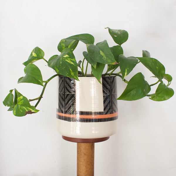 Crossweave big boy Planter - Black & Nasturtium