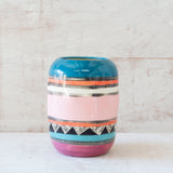 Teal Sunset Distorted Vase - Black, Lagoon,Teal, Flame, Dusty Pink & Maroon