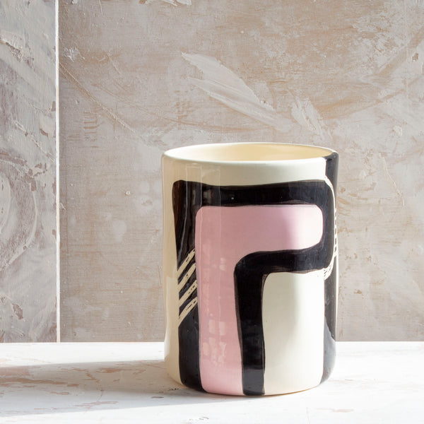 Candied Path #1 distorted vessel - Dusty Pink & Black