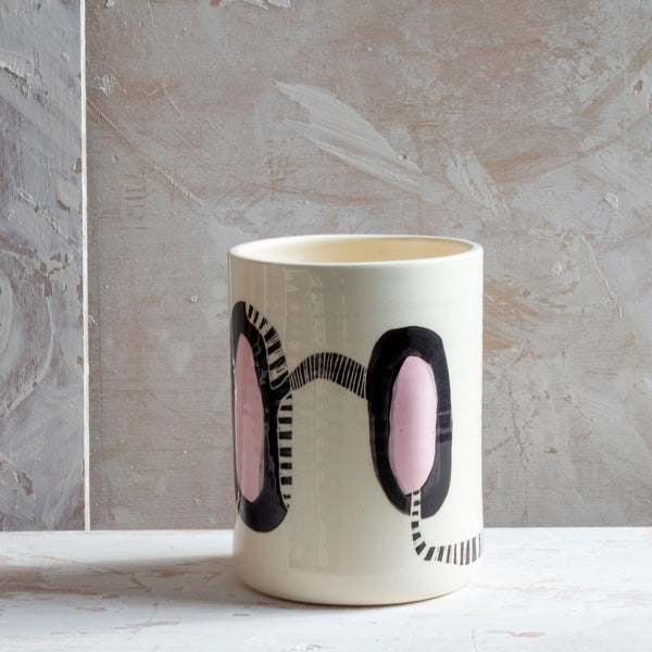 Candied Path #5 distorted vessel - Dusty Pink & Black