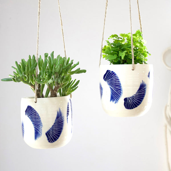 Linear Brush Medium Hanging Planter - Indigo