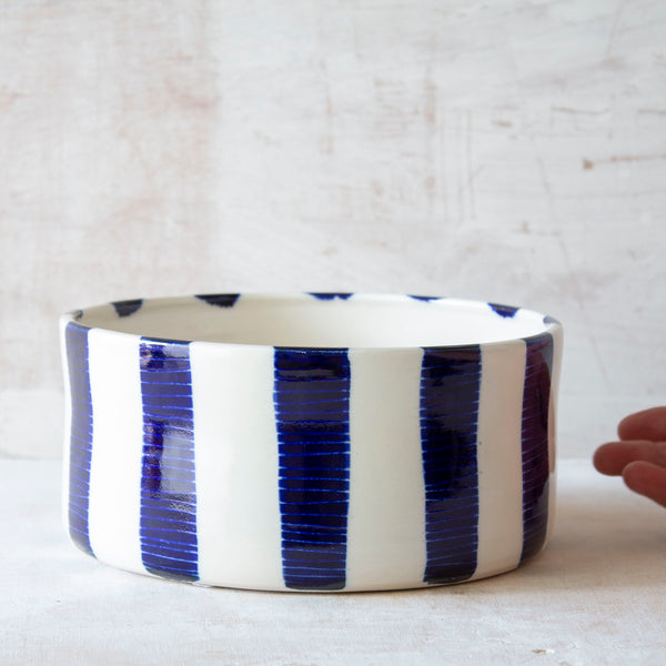 Indigo Stripe - Low Planter