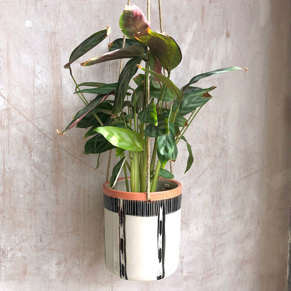 Striped Ikat Medium Hanging Planter - Black & Nasturtium