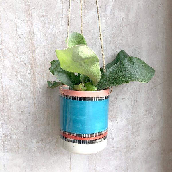 Liquorice All Sorts Medium Hanging Planter - Lagoon, Dusty Pink & Indian Red