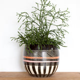 Textured Weave Orb Vessel - Black, Nasturtium & Dusty Pink
