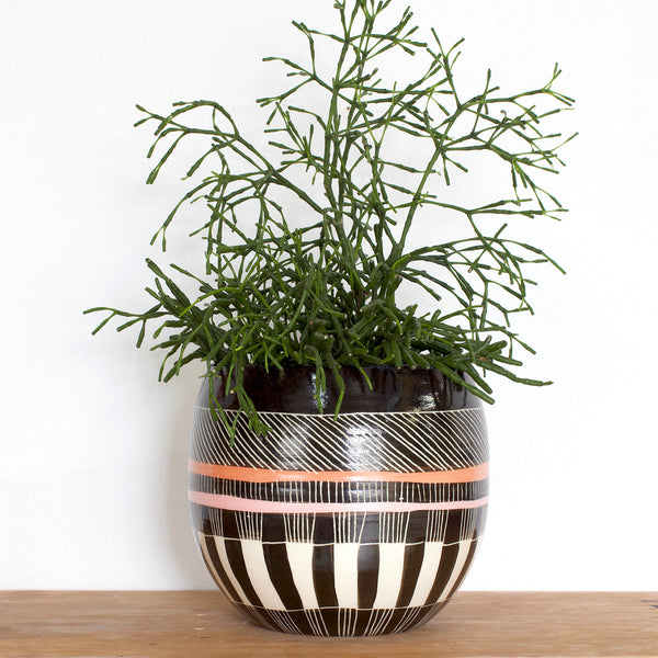 Crossweave Orb Vessel - Black, Nasturtium & Dusty Pink