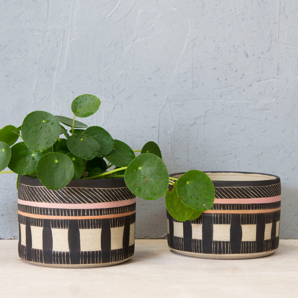 Textured Weave Large Planter  - Black, Dusty Pink & Nasturtium
