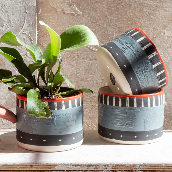 Textured Tracks Little Planter  - Black, Grey & Indian Red