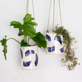 Linear Brush Tall Hanging Planter - Indigo