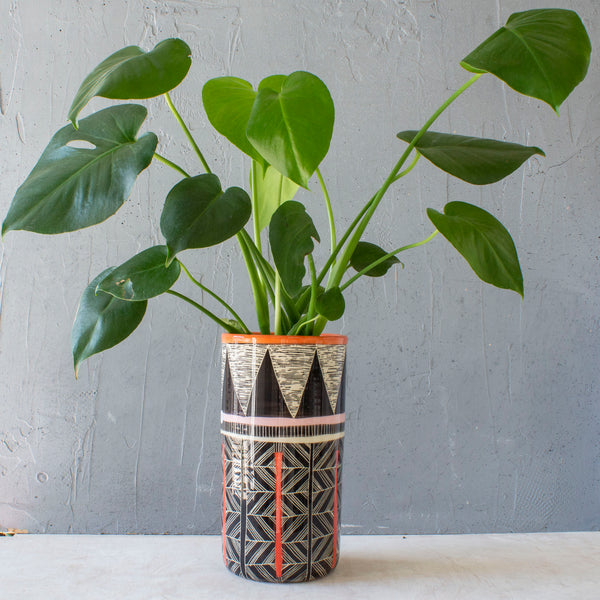 Diamond Weave Tall Planter - Black, Nasturtium, Indian Red & Dusty Pink