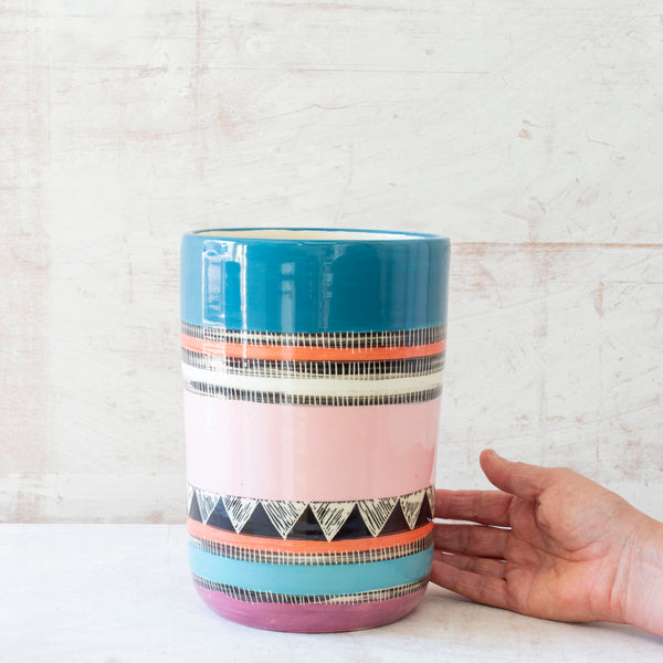 Teal Sunset Vase // Planter - Black, Lagoon,Teal, Flame, Dusty Pink & Maroon