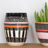 Textured Weave Vase - Black, Nasturtium & Dusty Pink