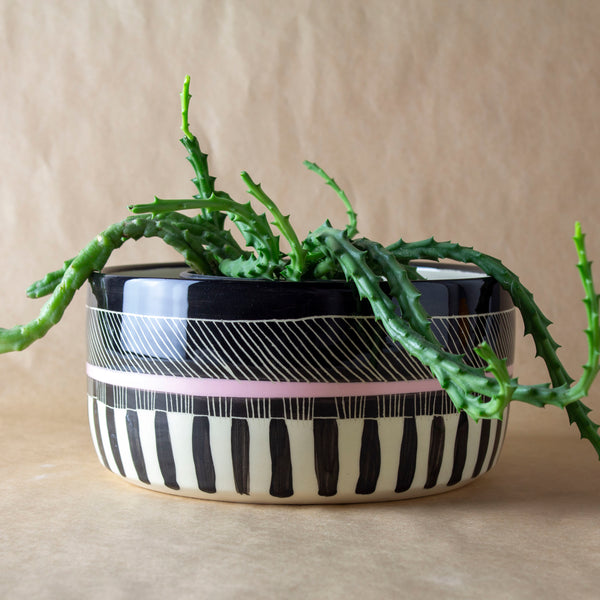 Textured Weave Vessel  - Black & Dusty Pink