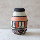 Textured Spotted Path Peanut Vase - Black