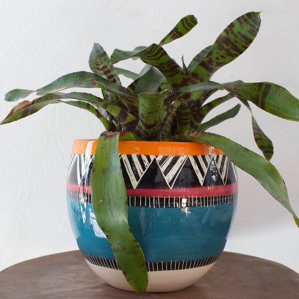 Teal Sunset Orb Vessel - Black, Teal, Burgundy & Sunset