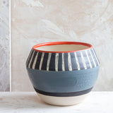 Textured Tracks #2 angular vessel   - Black, Grey & Indian Red