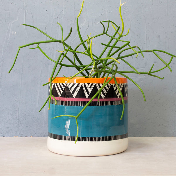 Teal Sunset XXL Planter - Black, Teal, Burgundy & Sunset