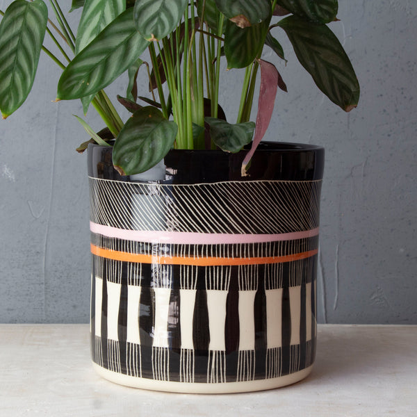 Textured Weave XL Planter  - Black, Dusty Pink & Nasturtium