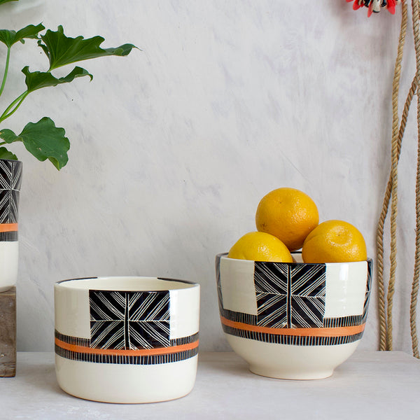 Crossweave Large Bowl // Planter - Black & Nasturtium