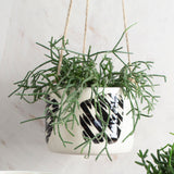 Masked Track Large Hanging Planter - Black & White