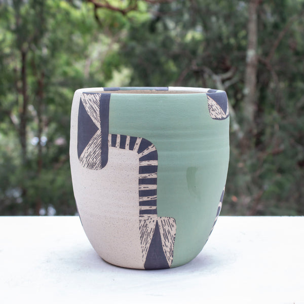 Moss Pathways Jumbo Vessel - Black, Moss and Forest Green