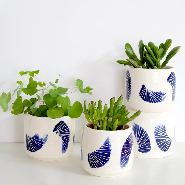 Linear Brush Little Ceramic Planter with drainage hole - Indigo