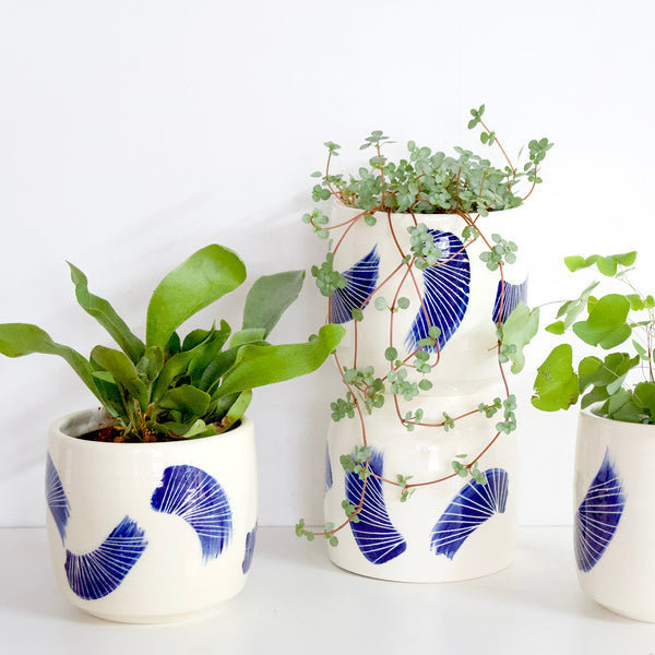 Linear Brush Ceramic Vessel // Planter - Indigo