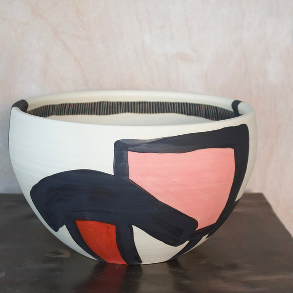 Textured Pathways Jumbo Bowl - Black, Indian Red & Dusty Pink