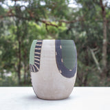 Moss Pathways Bulbous Vase - Black, Moss and Forest Green