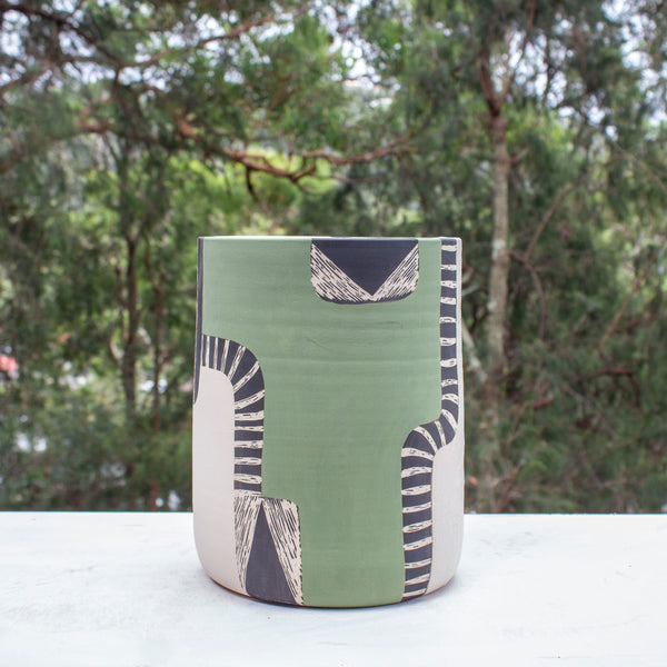 Moss Pathways XL Jumbo Vessel - Black, Moss and Forest Green