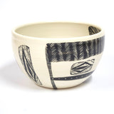 Woven Grafik  Ceramic Bowl - Indian Red