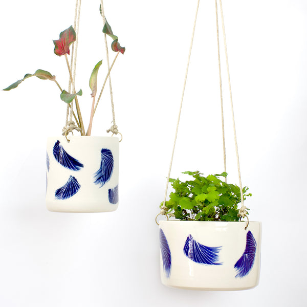 Linear Brush Large Hanging Planter - Indigo