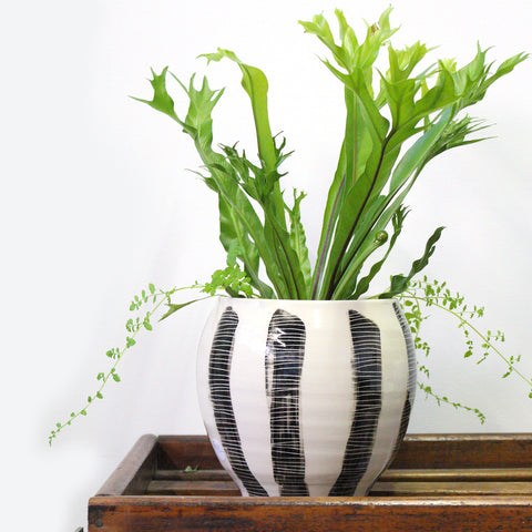 Stripes Ceramic Vessel - BW
