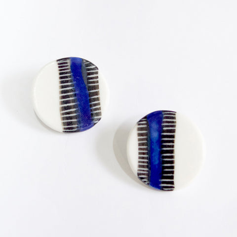 Vertical Stripe Medium Clip Ons - Electric Blue
