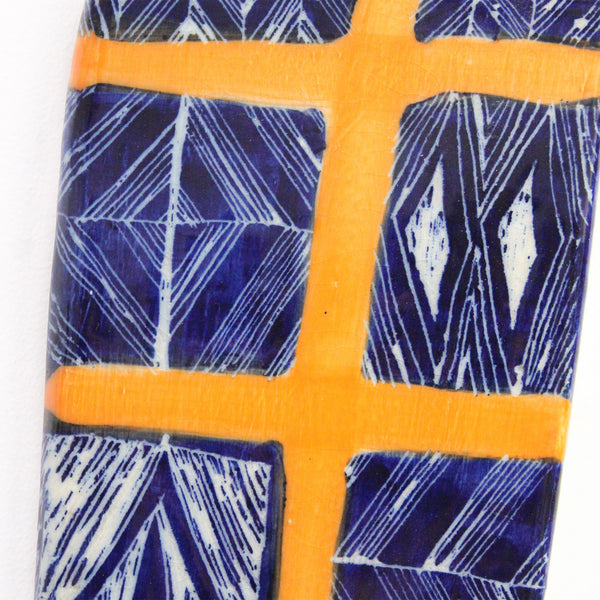 Ceramic wall piece  - 'Indigo Spine'