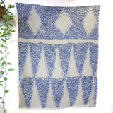 Three Diamonds - Hand painted linen throw or wall hanging