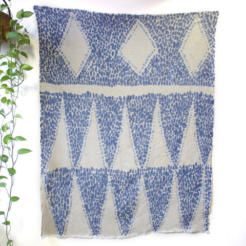 Three Diamonds Hand Painted Linen Throw or Wallpiece - Ultramarine & Indigo