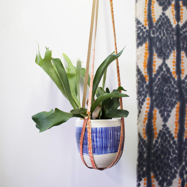 Peachy Spot Leather Planter Hanger