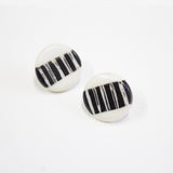 White Stripe Little Studs - Black