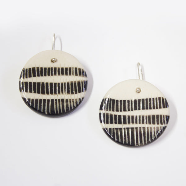 Stripey Road Medium Drop Earrings - Black