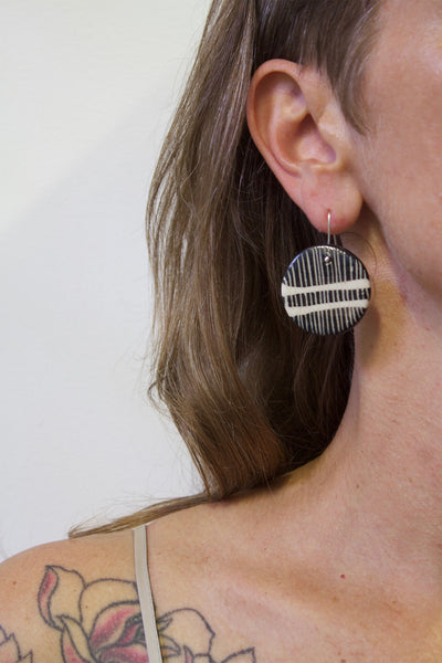 Double Stripey Road Medium Drop Earrings - Black