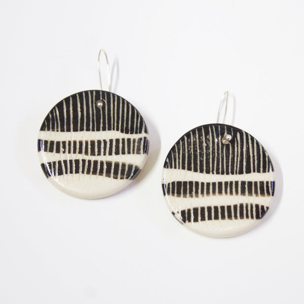 Upside-down Stripey Road Medium Half Drop Earrings - Black