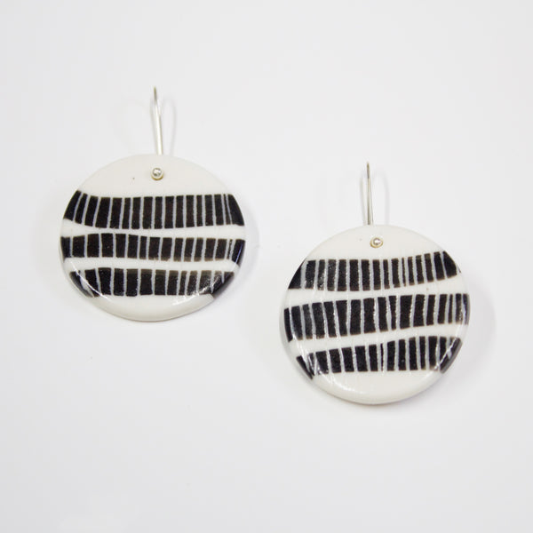 Three Stripes Medium Drop Earrings - BW