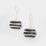 3 Stripes Medium Drop Earrings - BW