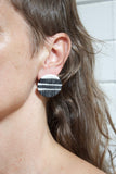 Stripey Road Medium Studs - Black