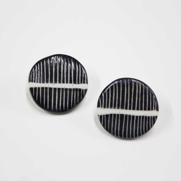 White Stripe Medium Studs - Black