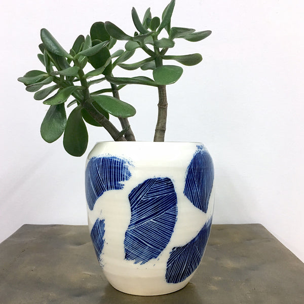 Linear Brush Medium Vase - Indigo