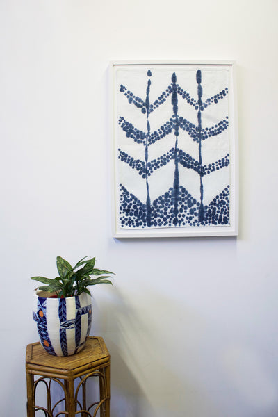 Chevron Stripe Tea Towel Art - Indigo