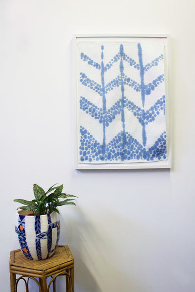 Chevron Stripe Light Tea Towel Art - Ultramarine