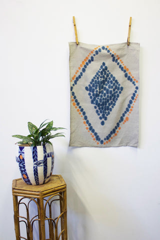 Diamond Tea Towel Art - Indigo & Tangerine